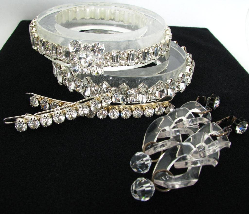 18: Group of Lucite and Rhinestone Costume Jewelry