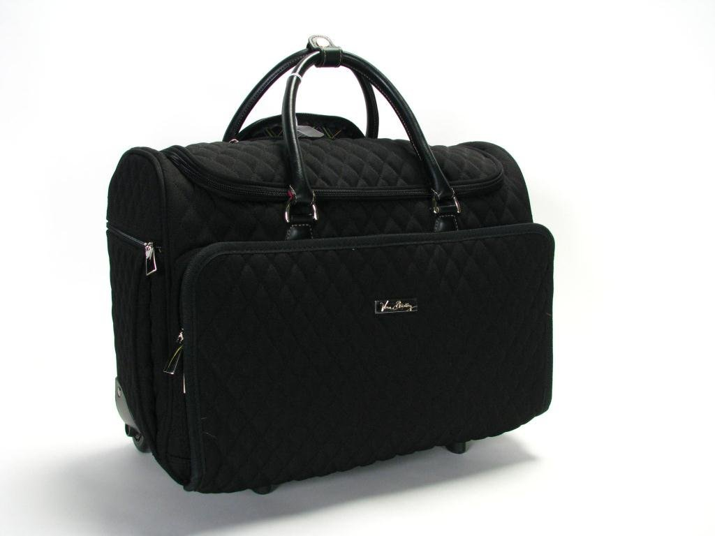 159: Vera Bradley Black Quilted Rolling Travel Tote