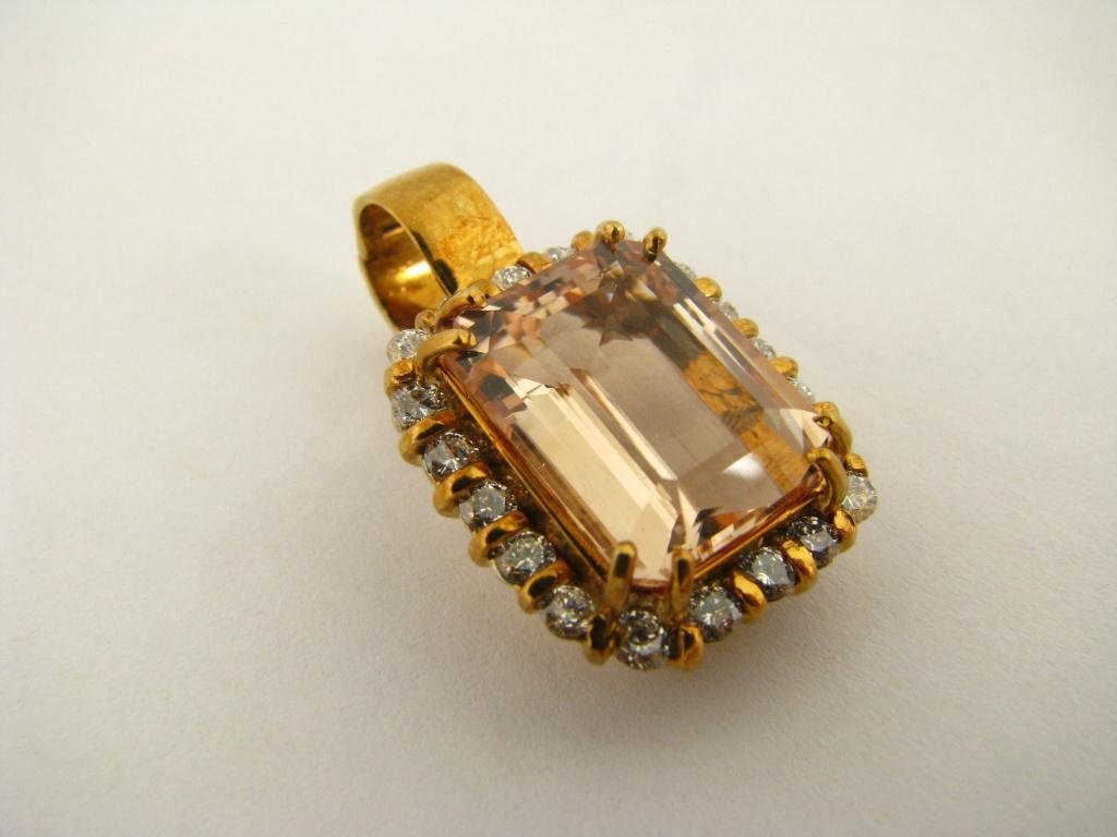 509: 18K Yellow Gold Citrine Quartz and Diamond Pendant