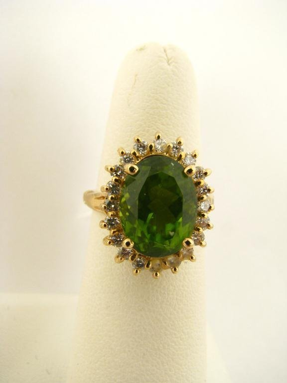 519: 18K Yellow Gold Green Citrine and Diamond Ring