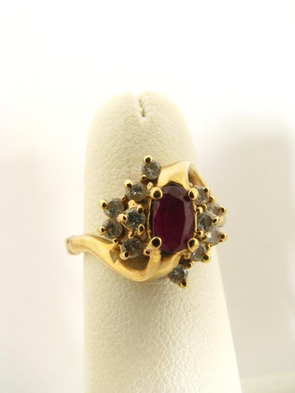 520: 18K Yellow Gold Ruby and Diamond Ring
