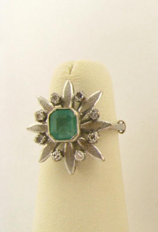 521: 14K White Gold Emerald and Diamond Ring