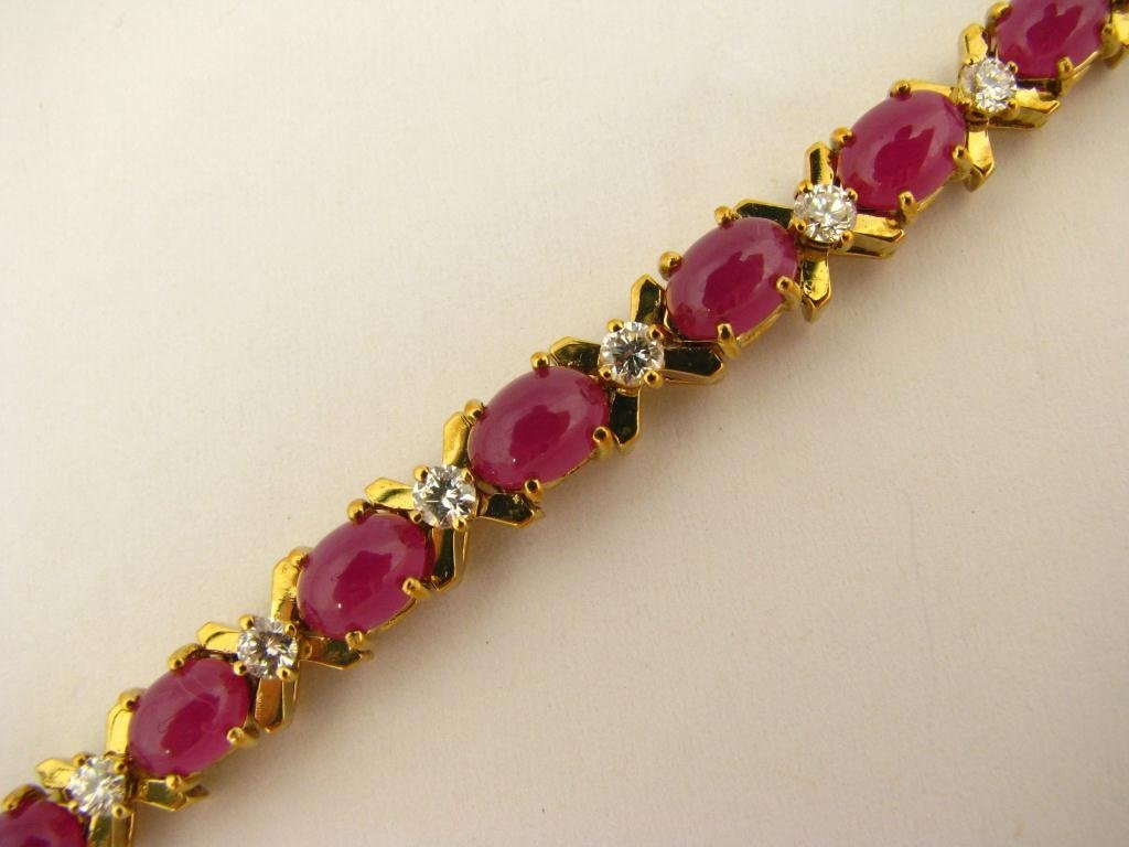523: 18K Yellow Gold La Triomphe Ruby Bracelet