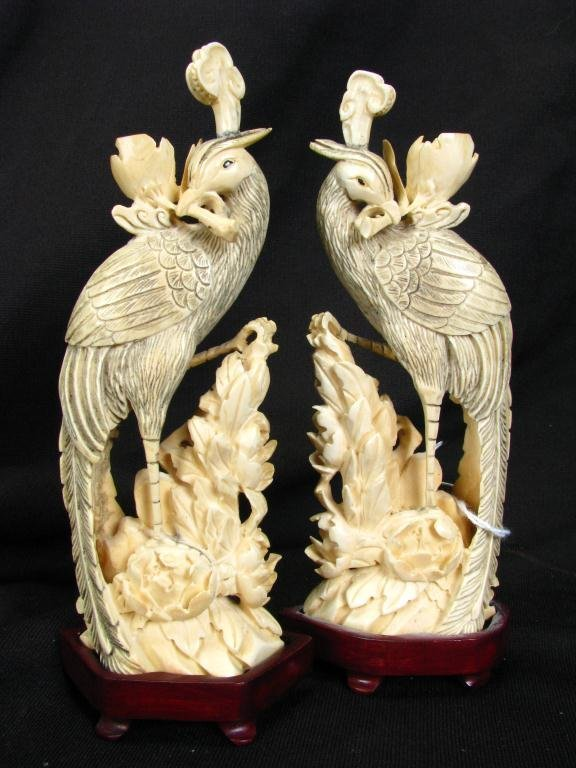 703: Pair of Oriental, Carved Ivory Bird Figures