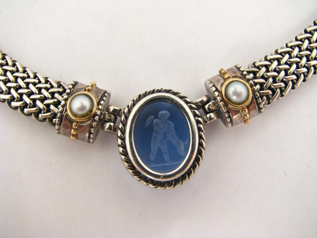 255: Italian Sterling and 18K Gold Designer Necklace