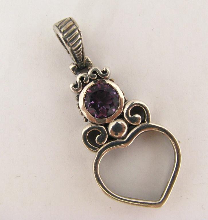 256: Italian Sterling Heart-Motif Pendant, Amethyst