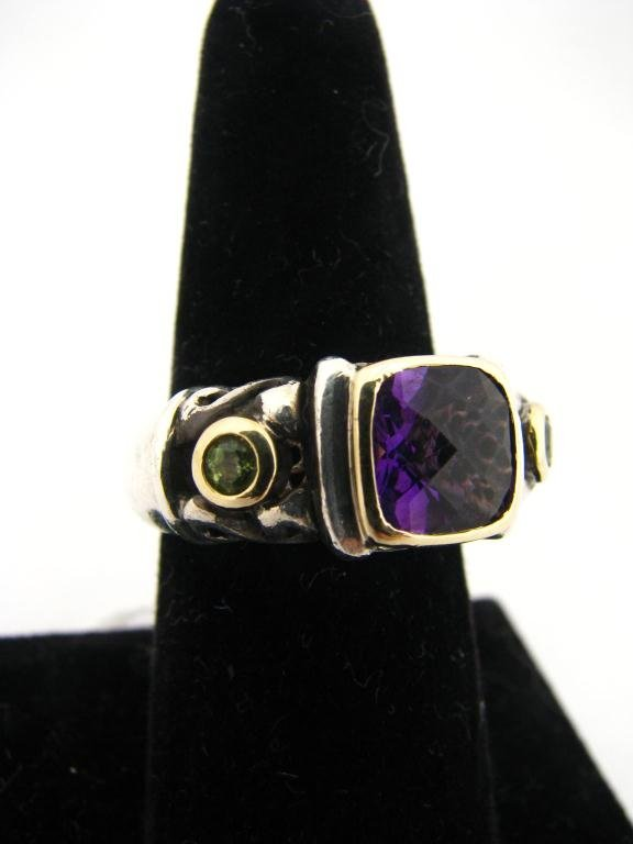 257: 14K and Sterling Italian Designer Ring, Amethyst