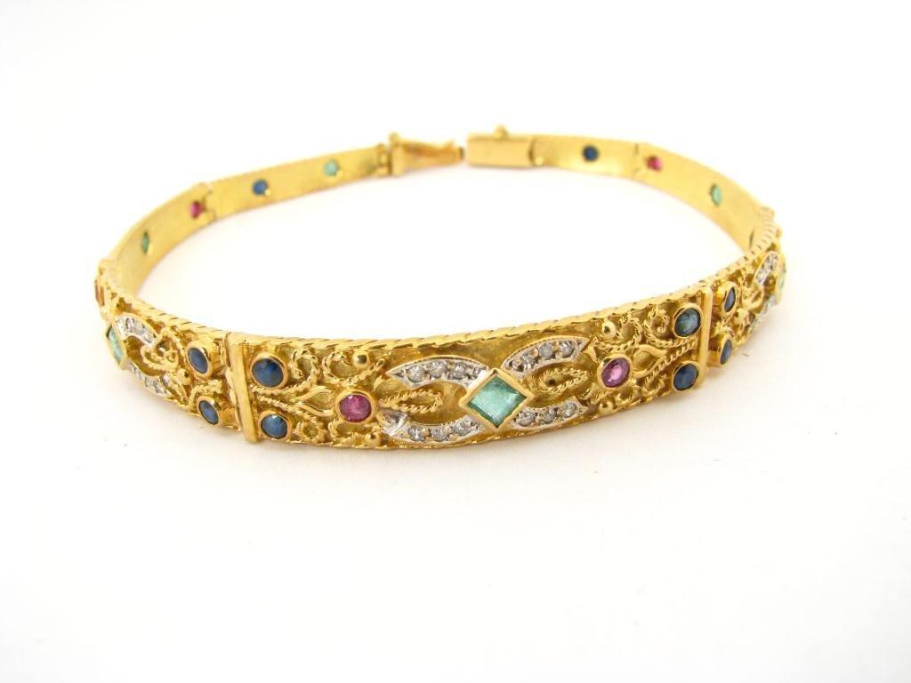 262: 18K YG Diamond and Colored Stone Bracelet