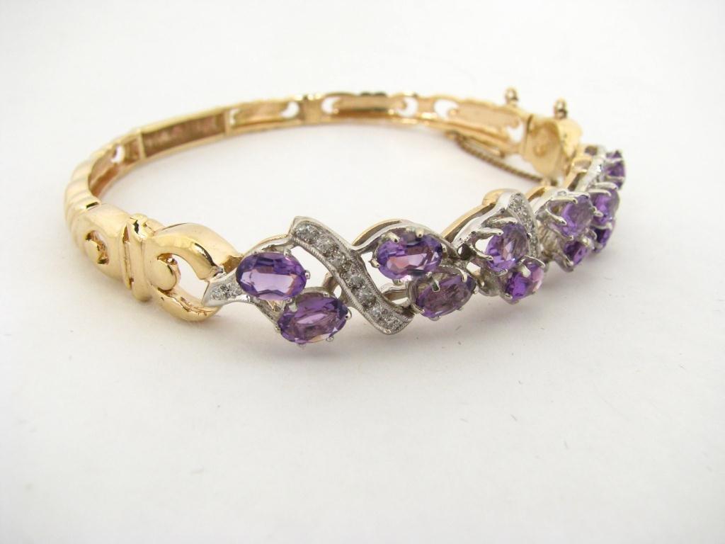 263: 14K Gold Amethyst and Diamond Bracelet