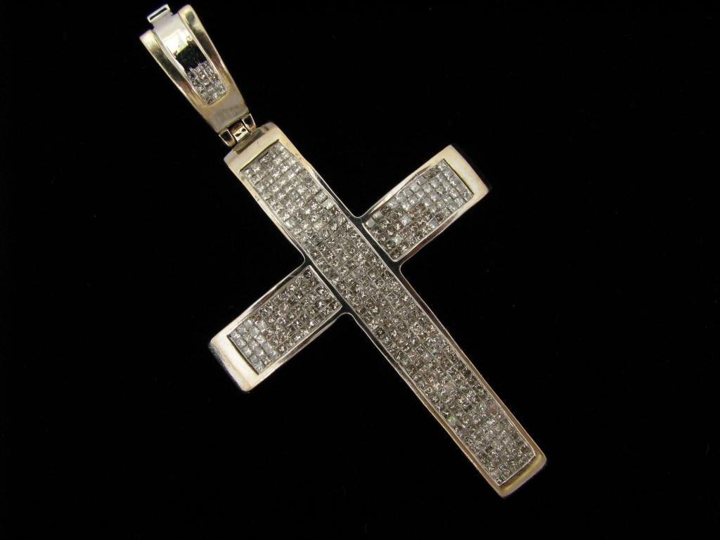 264: 14K WG Diamond Cross Pendant, 5ct