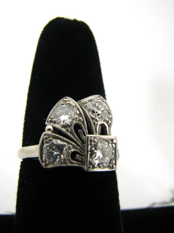 266: Vintage, Custom Made Platinum and Diamond Ring
