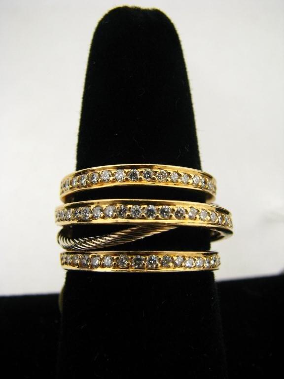 268: 18K YG Multi Band Diamond Ring