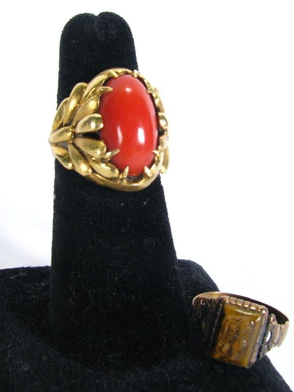 301A: Two Lady's 14K YG Rings, Coral & Tiger Eye