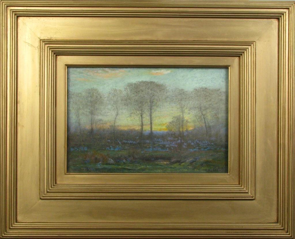 656: Dwight  W. Tryon 7.75 x 11.5 Gouache Violet Fields