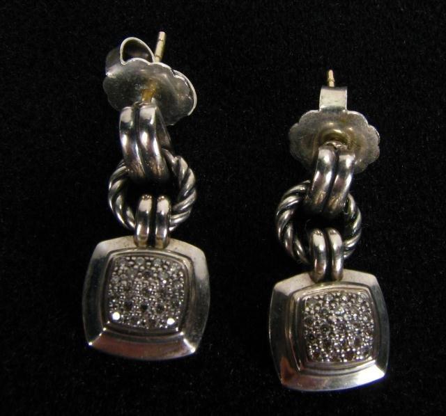 252A: David Yurman Sterling and Pave Diamond Dangle Ear