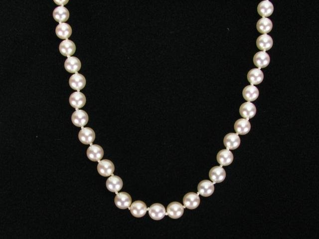 """261A: Mikimoto Cultured Pearls, 30"""" Strand, 18K Yellow"""