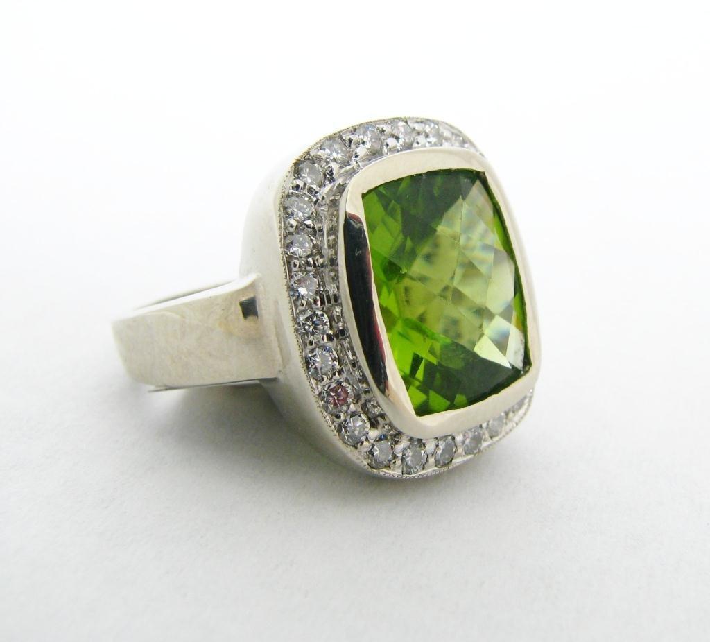 1: Lady's 14k WG Cushion Cut Peridot & Diamond Ring