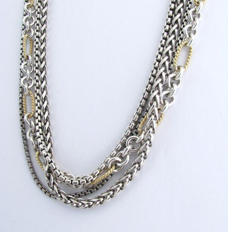 3: David Yurman Four Strand Necklace, Silver & Gold