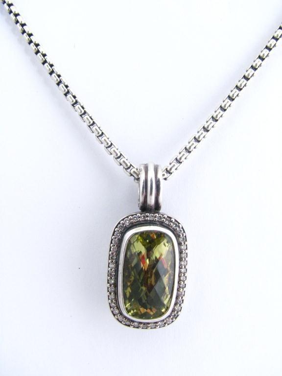4: David Yurman Chain & Peridot Pendant, Diamonds