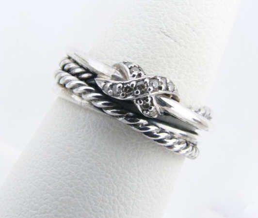 8: David Yurman Sterling Silver Ring, Diamonds