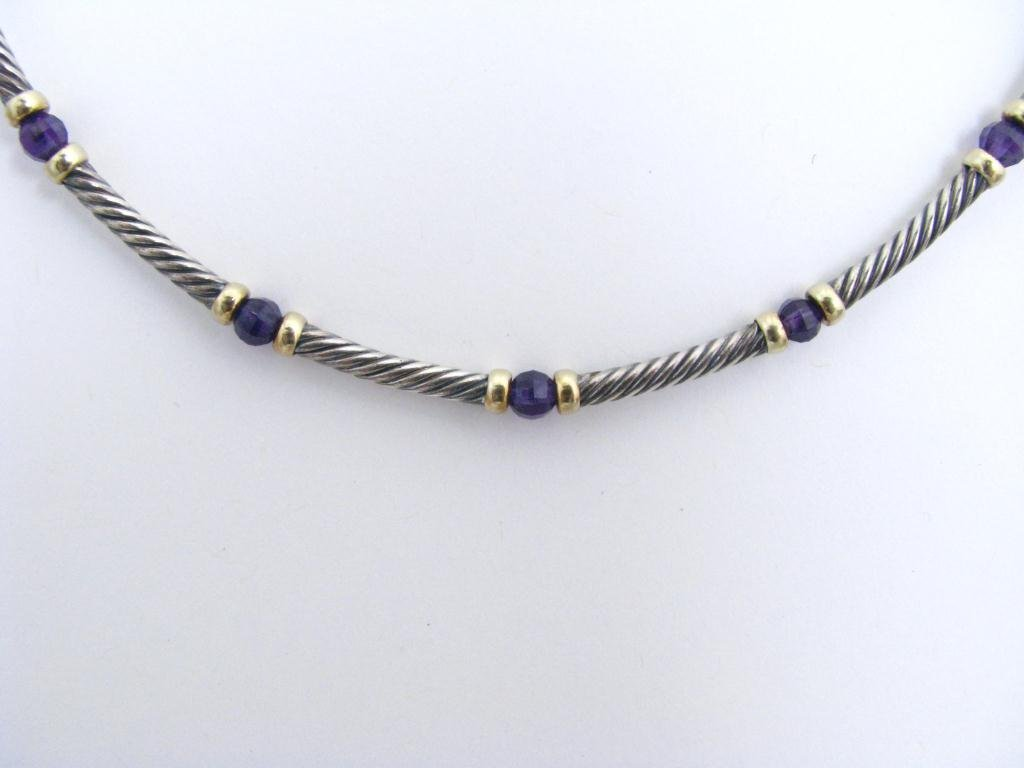 13: David Yurman Sterling & Gold Amethyst Necklace
