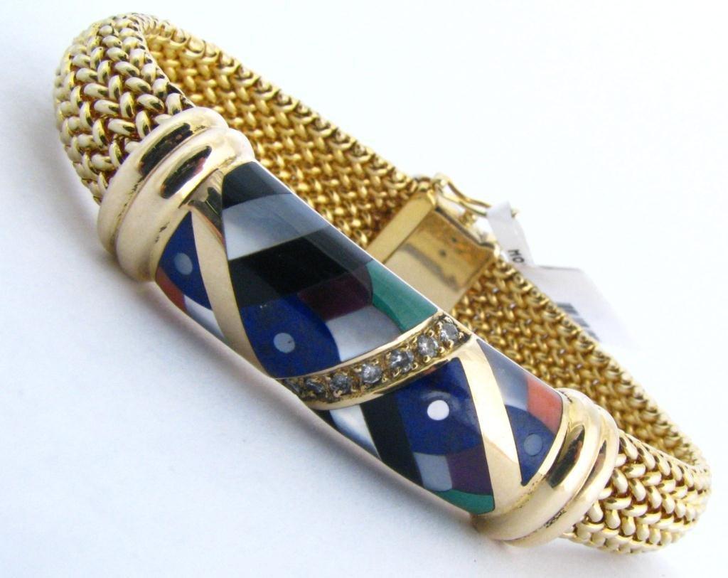 15: Asch Grossbardt 14k YG Inlaid Bracelet