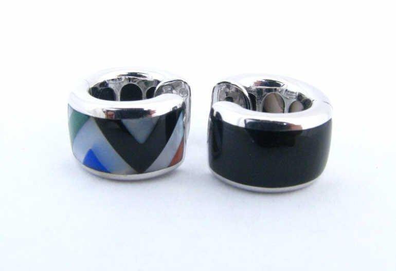 17: Asch Grossbardt 14k WG Huggie Inlaid Earrings