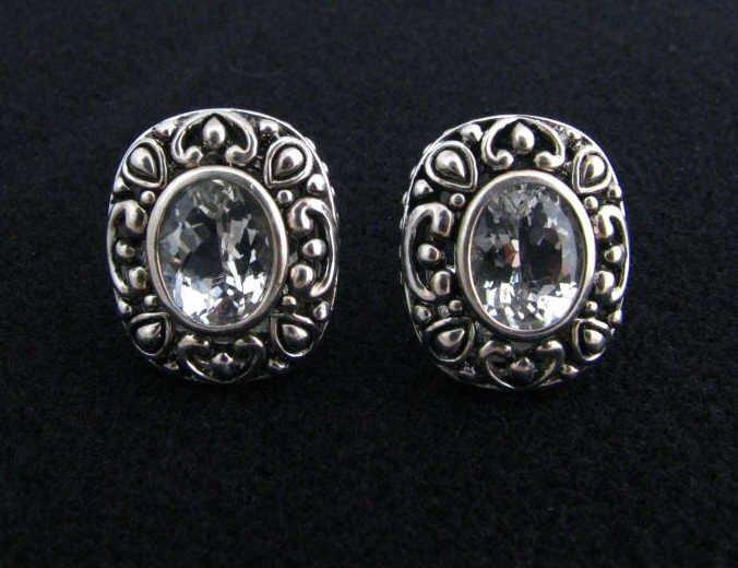 19: Designer Sterling Clip Earrings, Oval Stones