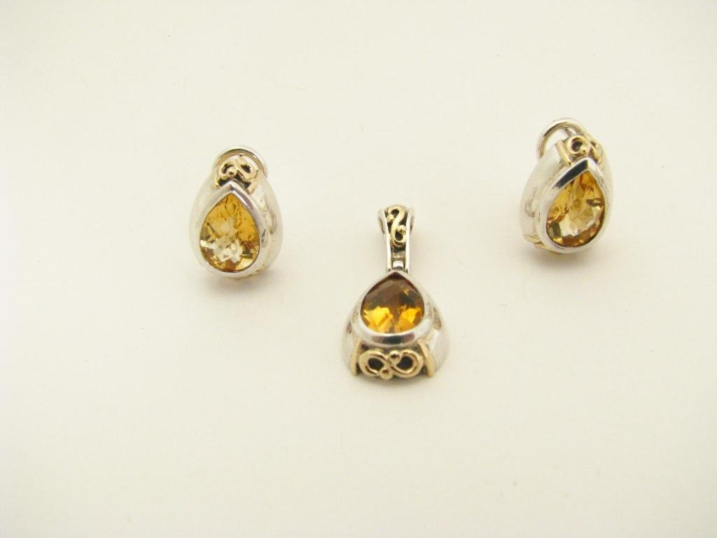 20: Sterling & 14k YG Earrings & Pendant, Topaz