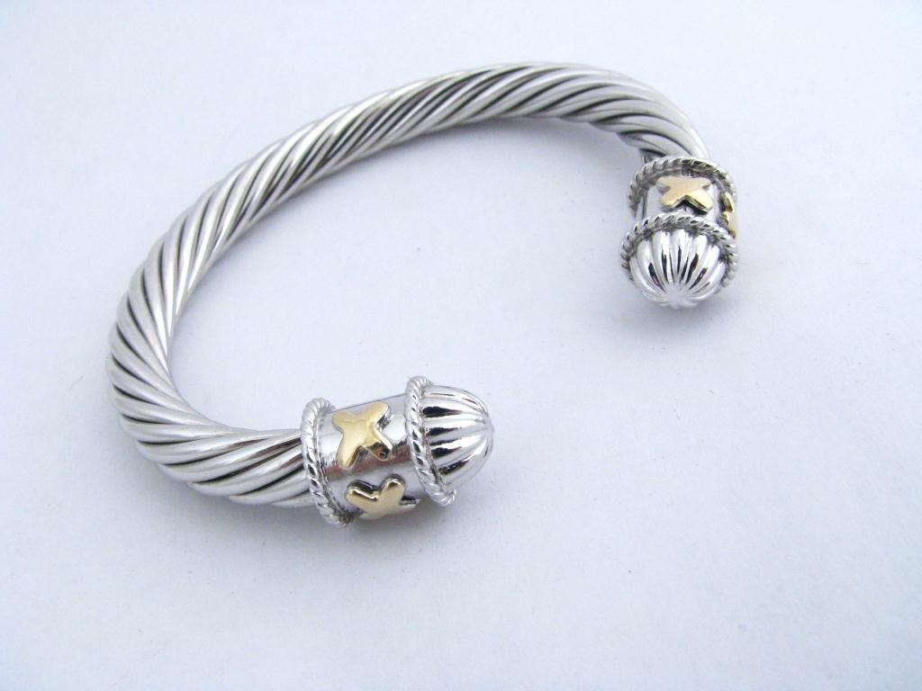 22: Sterling & 14k Cable Style Bracelet, X Motif
