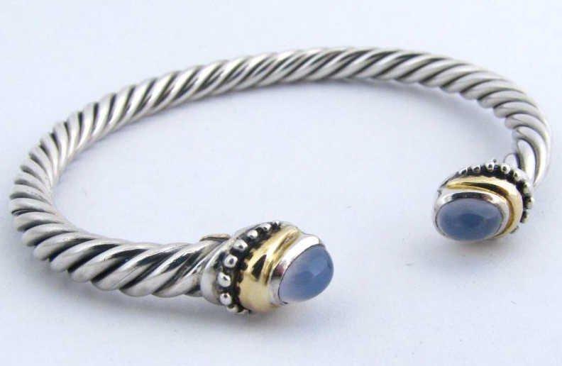 24: Sterling & 14k YG Cable Bangle Bracelet
