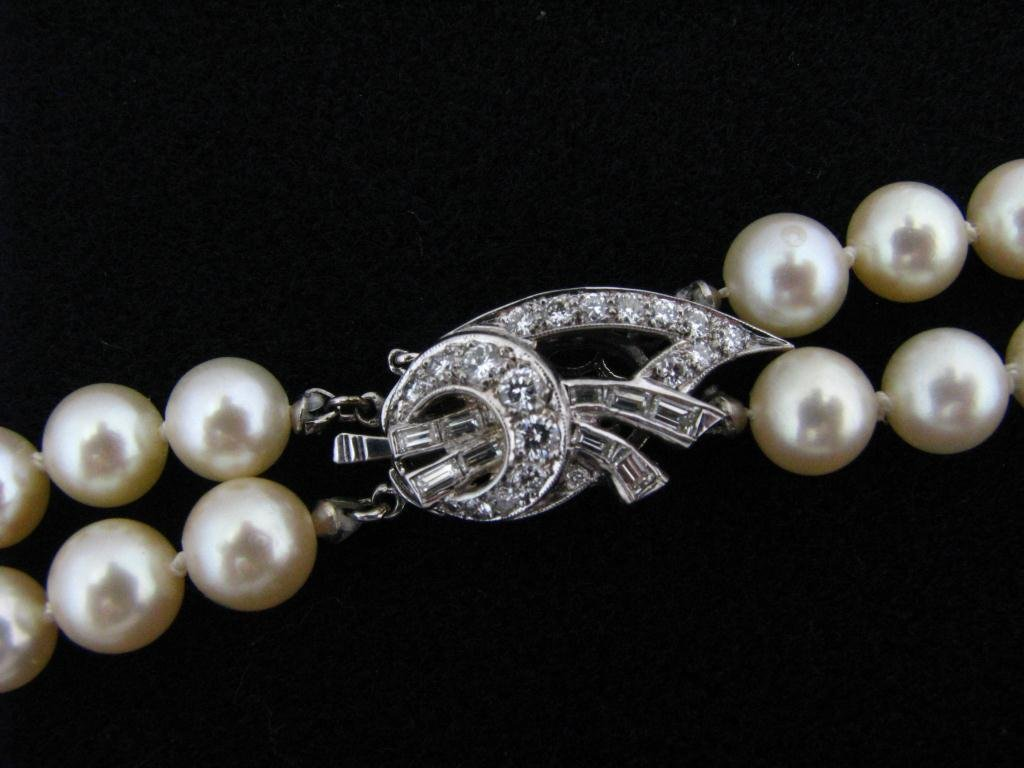 40: Cultured Pearl Necklace, 14K, Diamond Clasp