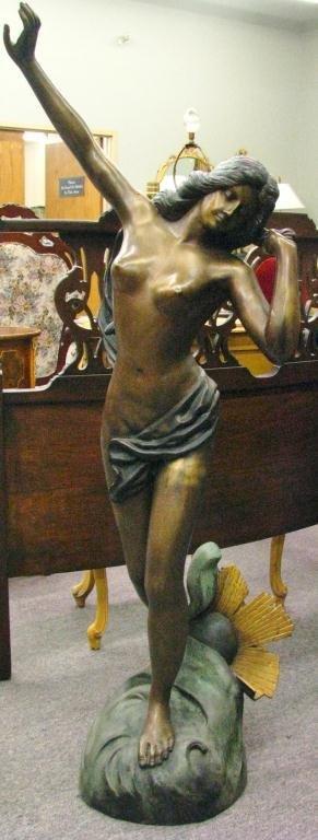 97: Large Bronzed Cast Metal Art Nouveau Figure