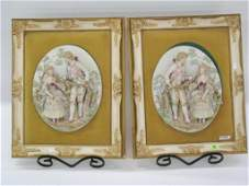 322 A Pair of Framed Dresden Style Porcelain Plaques