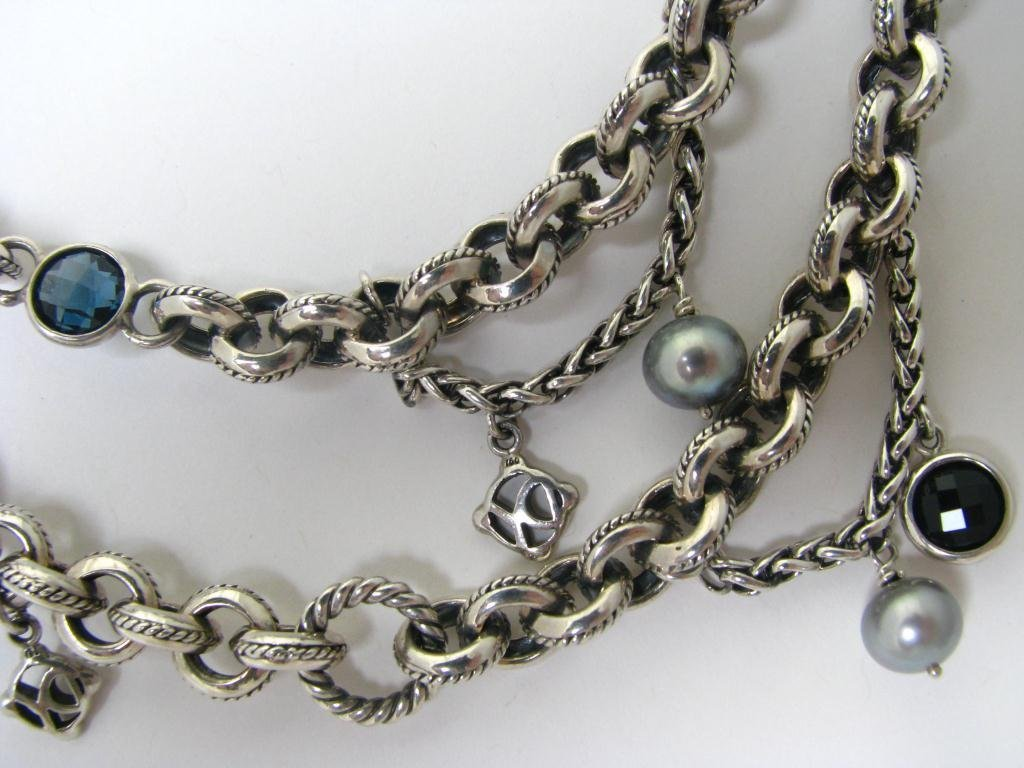 David Yurman Sterling and Pearl Necklace
