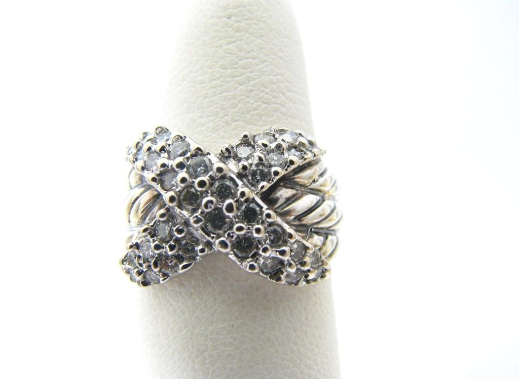 "David Yurman Sterling and 18K Diamond ""X"" Ring"