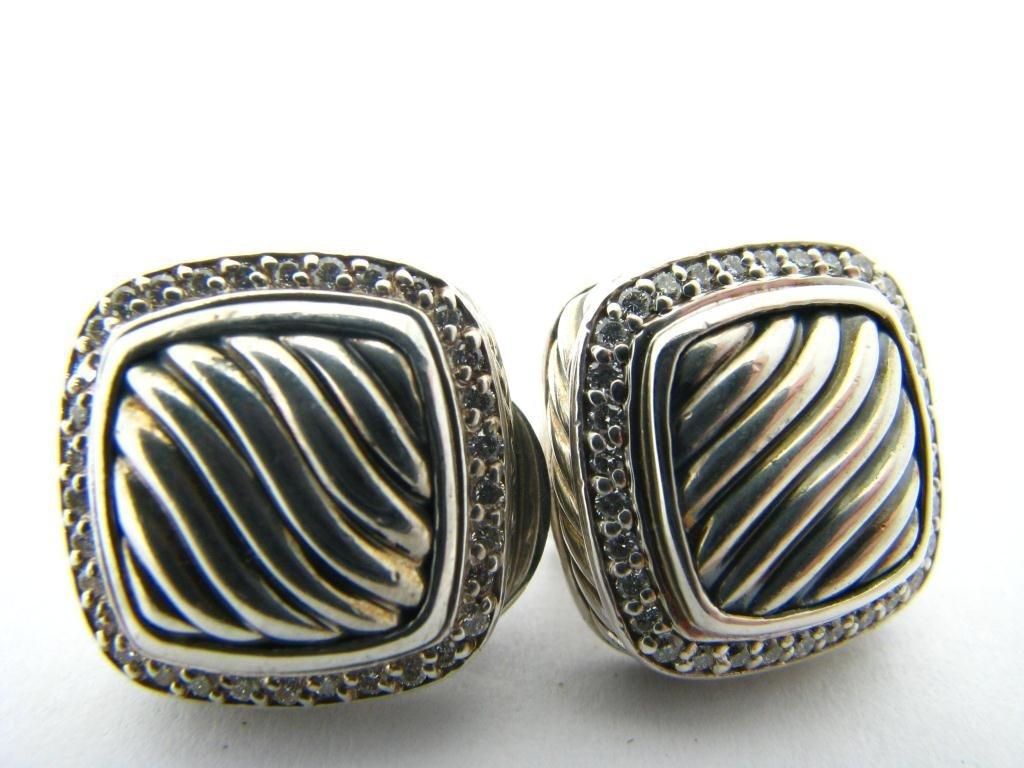 David Yurman Sterling Diamond Earrings