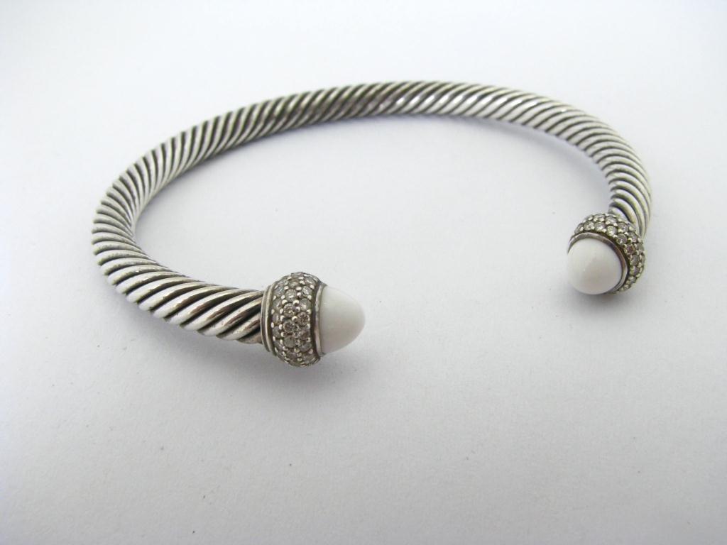 David Yurman Sterling Diamond/Chalcedony Bracelet