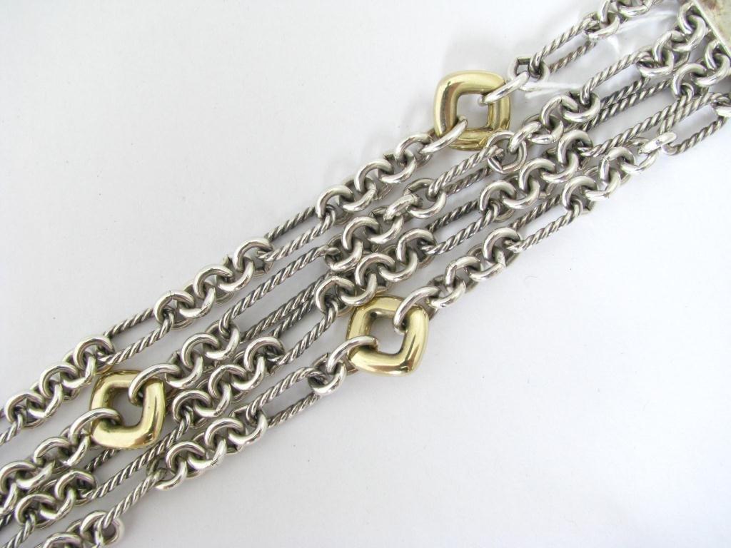 David Yurman Sterling and 18K Link Bracelet