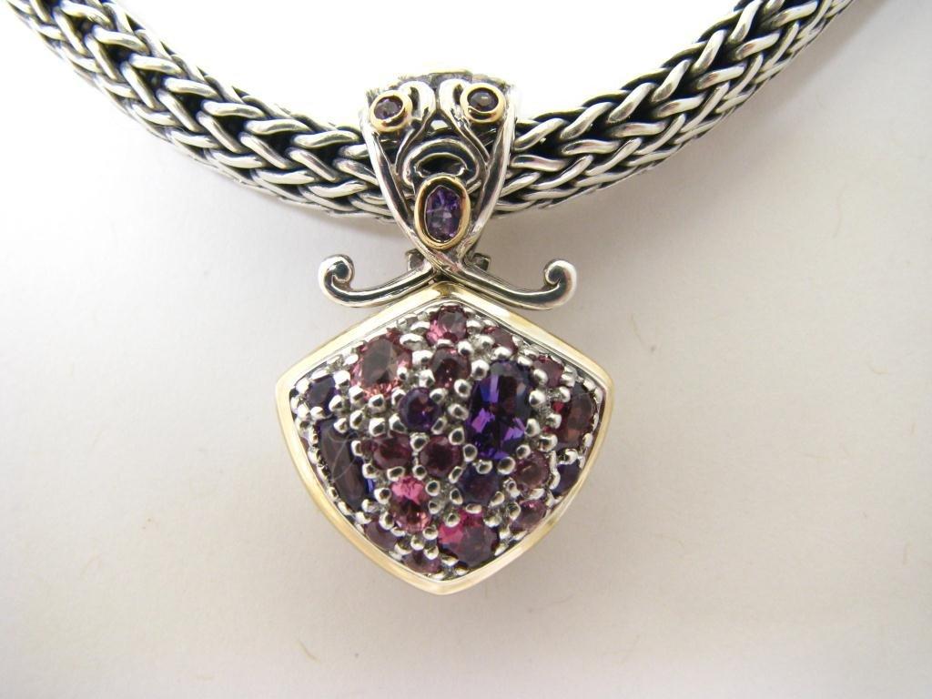 Sterling/18K J. Hardy Multi Gem Pendant/Necklace