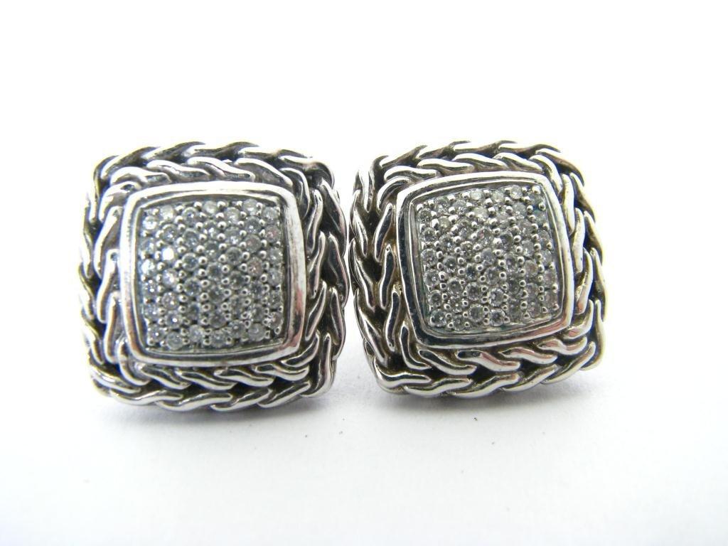 John Hardy Sterling/18K Diamond Earrings