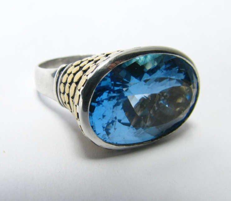 John Hardy, 18K and Sterling, Blue Topaz Ring