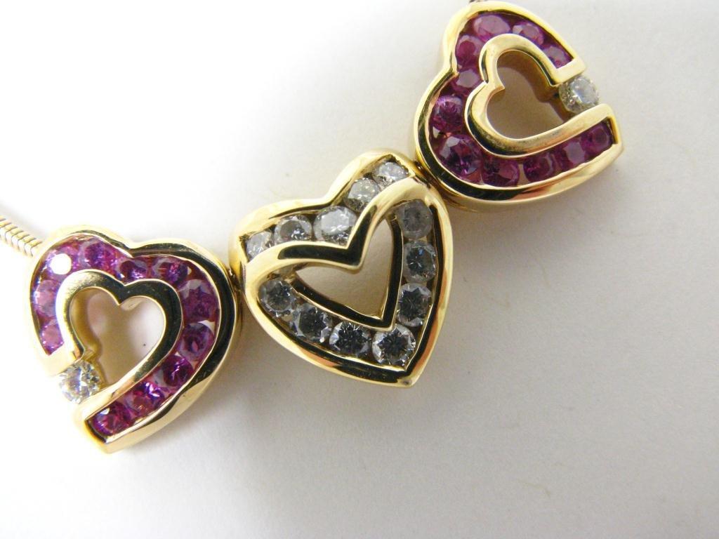 (3) 18K C. Krypell Heart Pendants, Diamond, Ruby