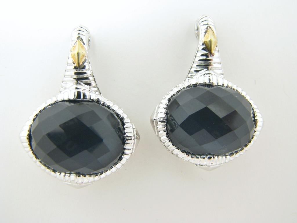 Judith Ripka Stainless and 18K Hematite Earrings
