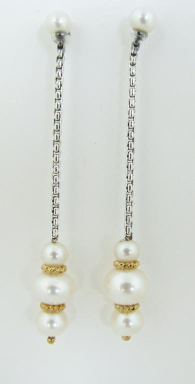 David Yurman, 18K/Sterling Pearl Drop Earrings