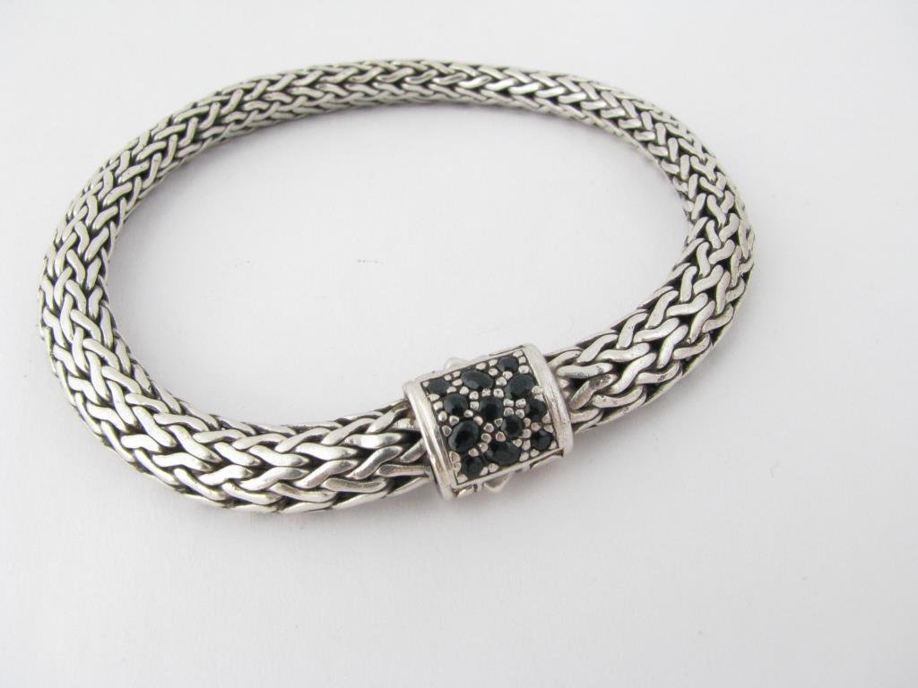 John Hardy Sterling Chain Bracelet Black Diamond