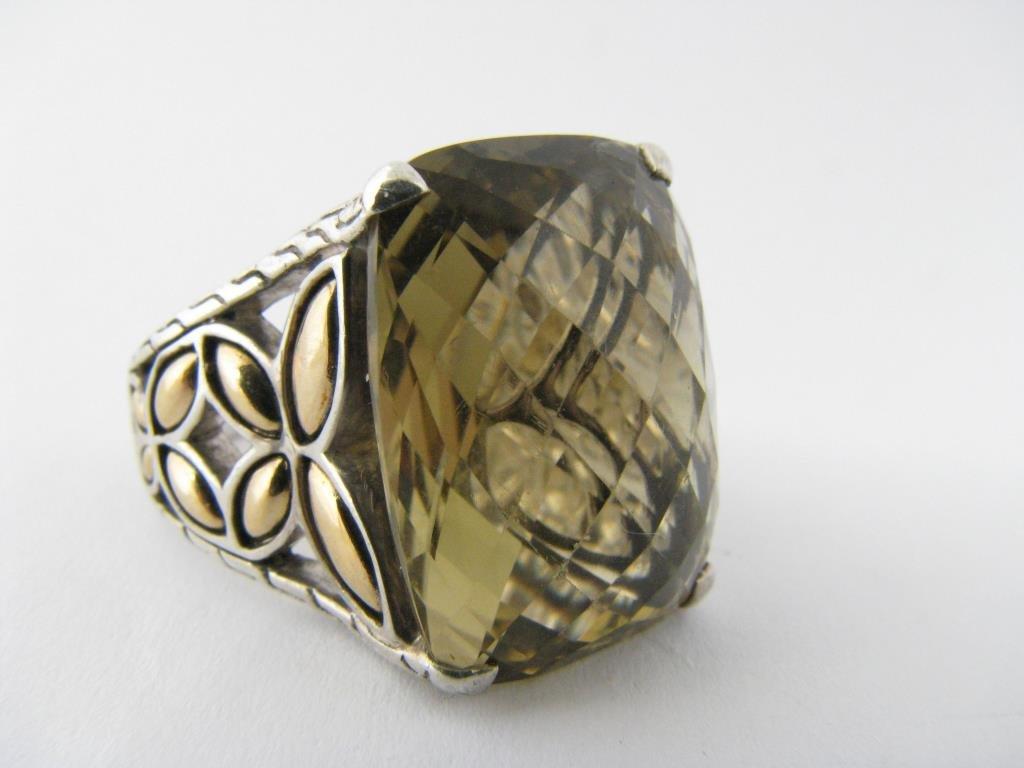 John Hardy Sterling and 18K Quartz Ring