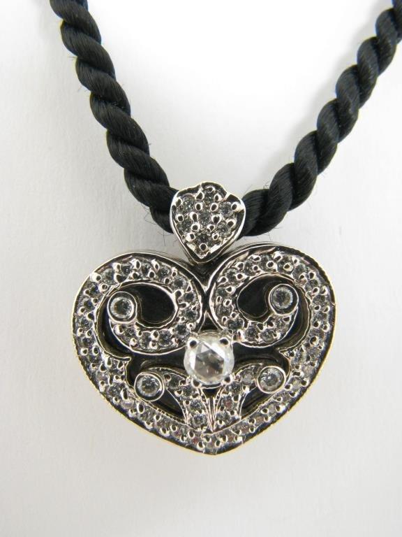 18K Barry Kronen Rose Cut Diamond Heart Locket