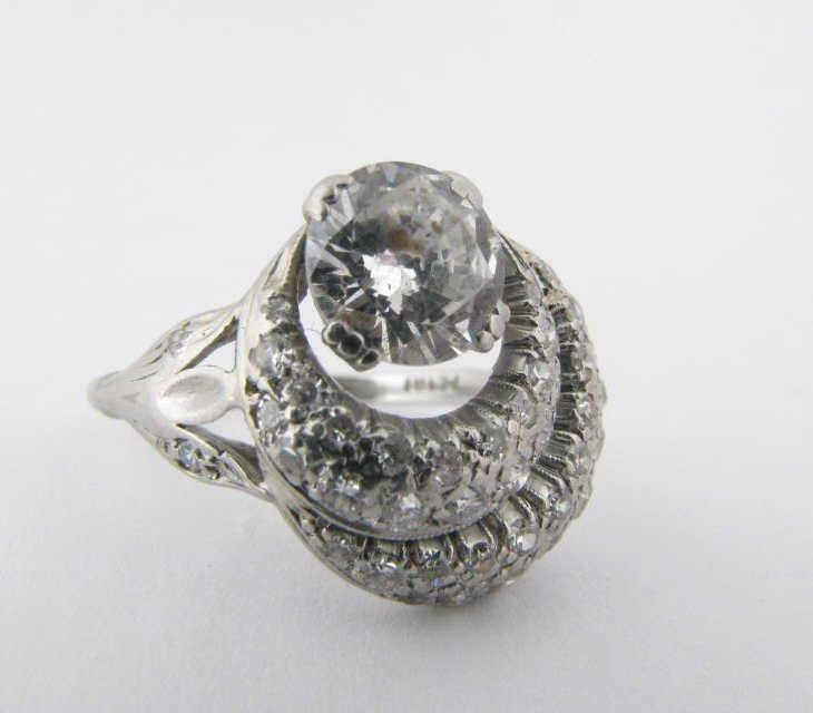 Petri Art Deco Platinum Diamond Ring, 1ct Plus