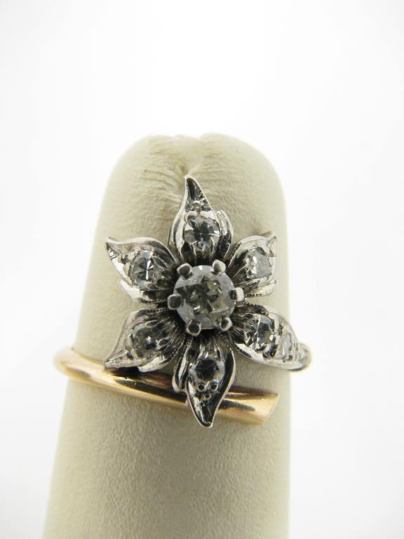 Petri,Platinum/14K Yellow Gold Diamond Flower Ring